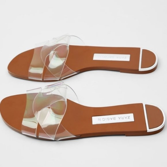 ZARA  Casual Style Leather PVC  Slippers  sandals